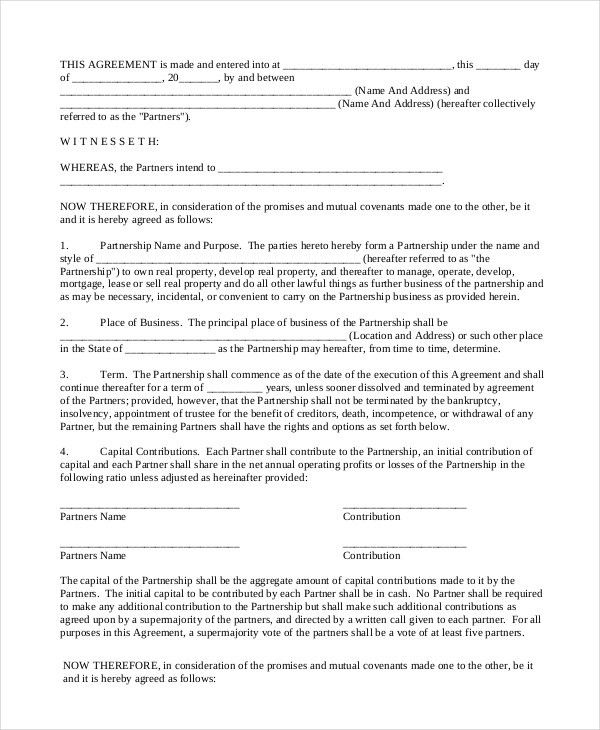 Partnership Contract - 8+ Free Word, PDF Documents Download | Free ...