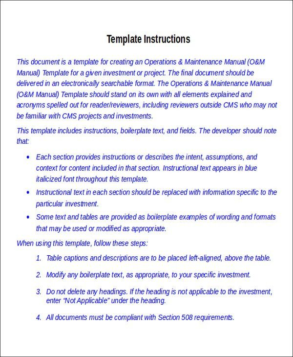 8+Instruction Manual Templates - Free Sample, Example Format ...
