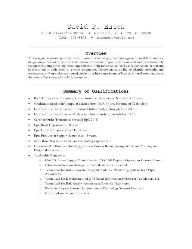 David P Eaton - Resume