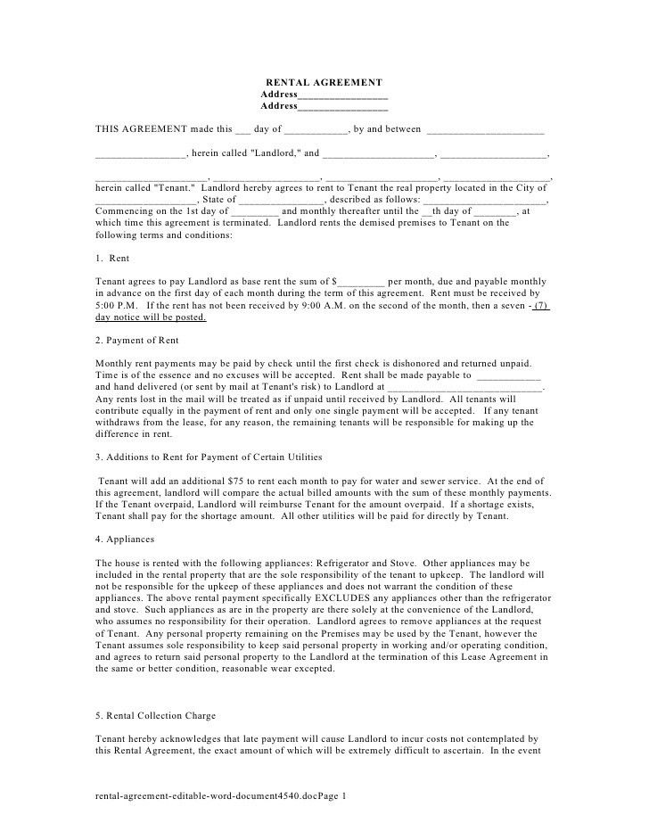 free printable rental lease agreement form template bagnas rental ...