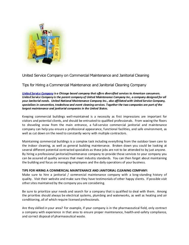 United Service Company on Commercial Maintenance and Janitorial Clean…