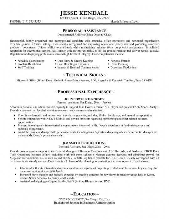 The Most Stylish Personal Assistant Resume Sample | Resume Format Web