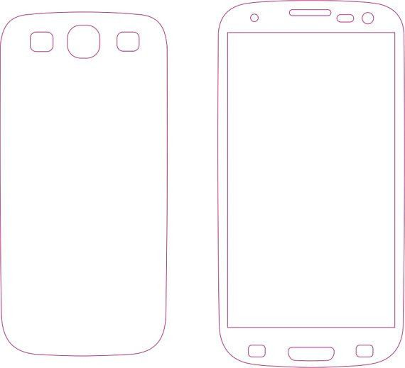 Samsung Galaxy S3 Skin template for cutting or machining