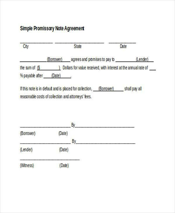 Sample Promissory Note Agreement Forms - 8+ Free Documents in Word ...