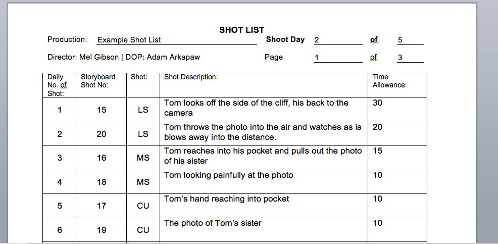 shooting - How do I write up a shot list? - Video Production Stack ...
