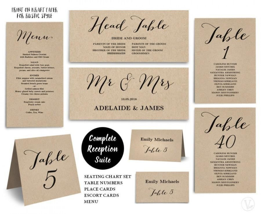 Printable Wedding Seating Chart Template, PLUS Table Numbers, Menu ...