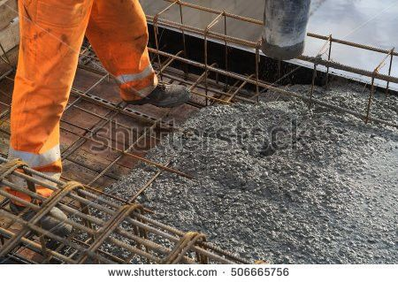 Concreting Slab Pouring Concrete Engineering Construction Stock ...