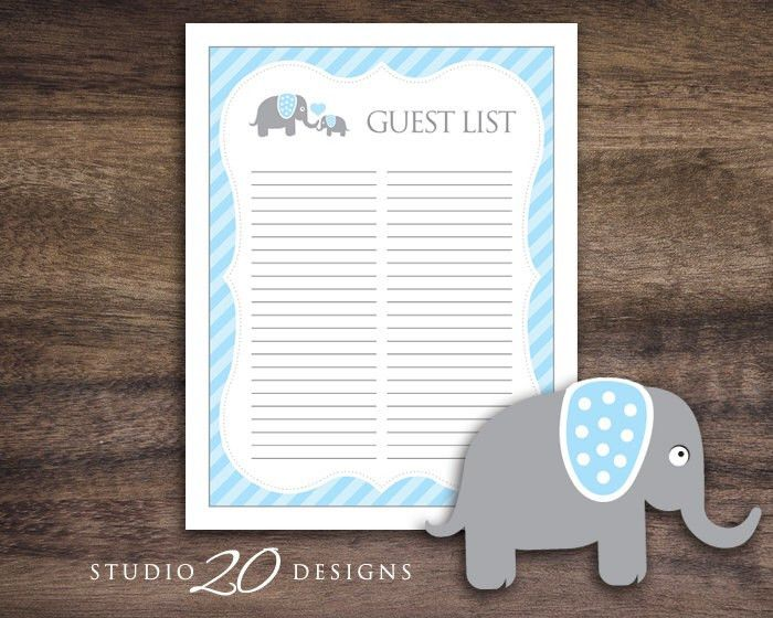 Instant Download Elephant Guest List, Printable Blue Elephant Baby ...