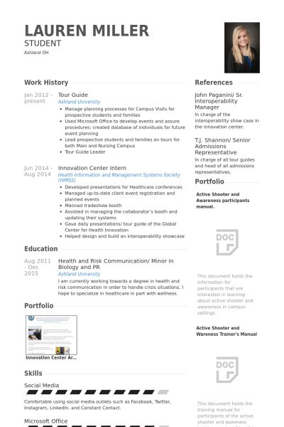 Tour Guide Resume samples - VisualCV resume samples database