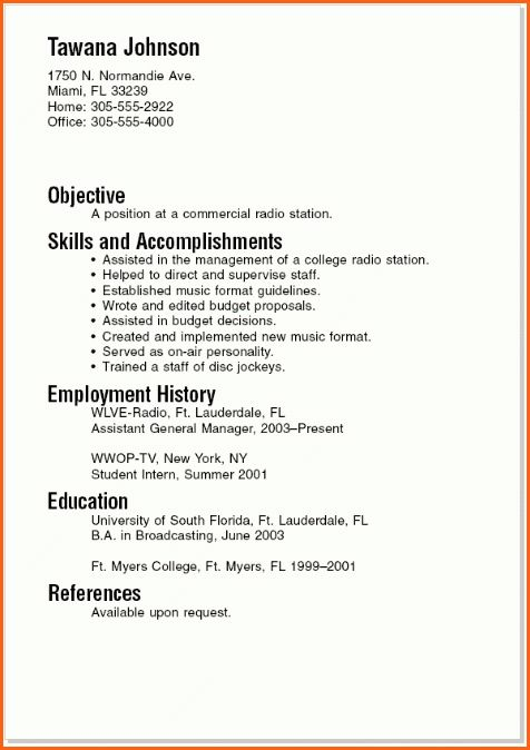 4+ resume template for college students - Budget Template Letter