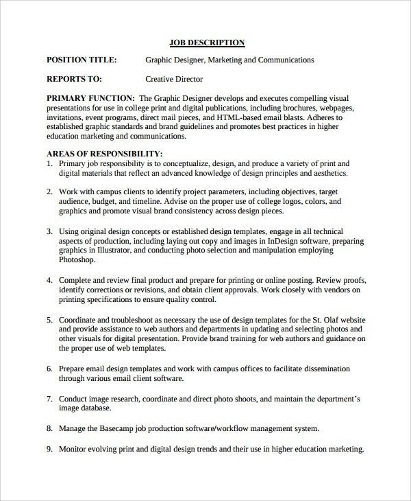 Sample Job Description Template - 22+ Free Documents Download in ...