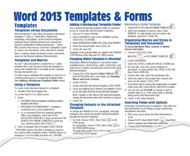 Microsoft Word 2013 Templates Forms Quick Guide Card - Beezix