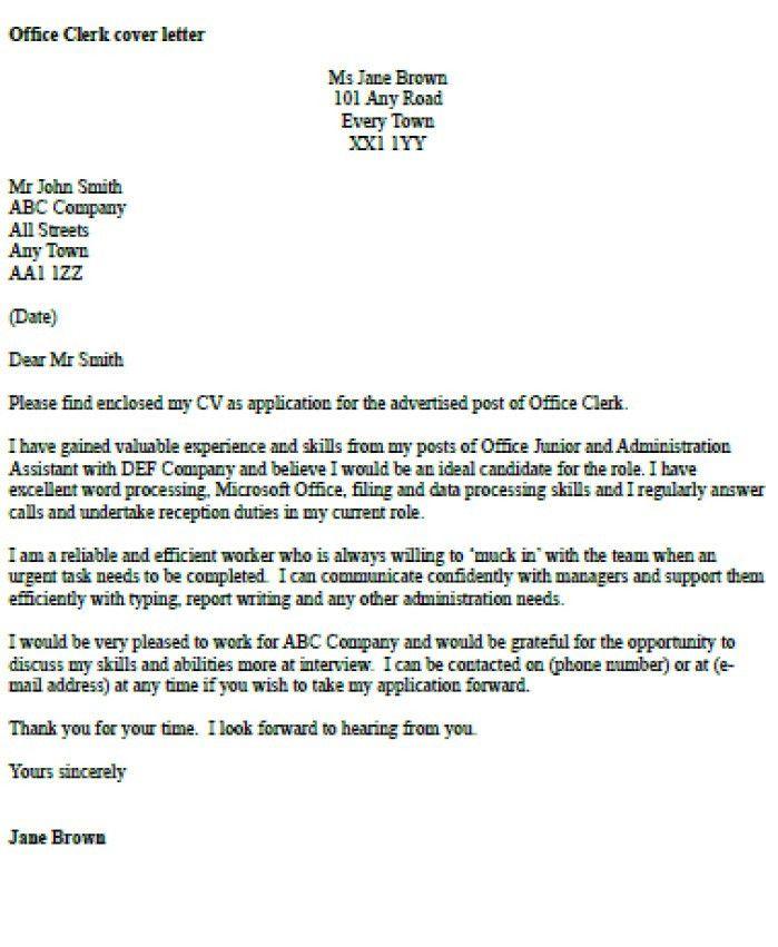 Mailroom Clerk Resume Cover Letter. cover letter for clerk ...