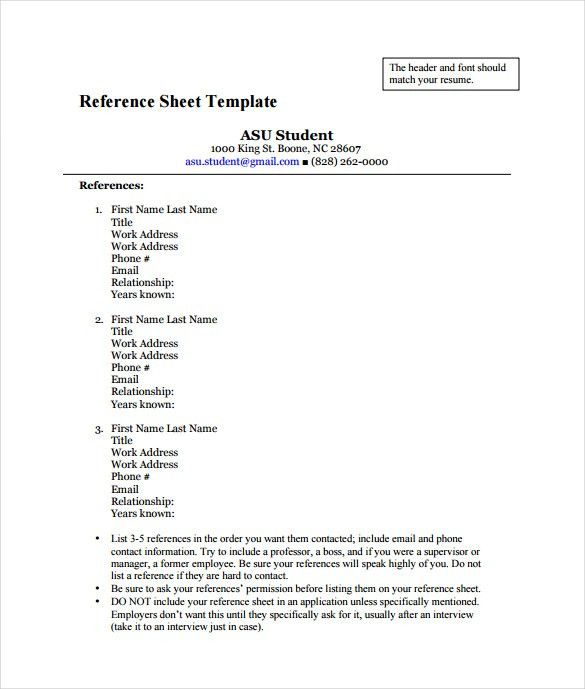 Reference Sheet Template - 30+ Free Word, PDF Documents Download ...