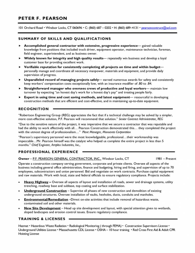 General Contractor Resume - Template Examples