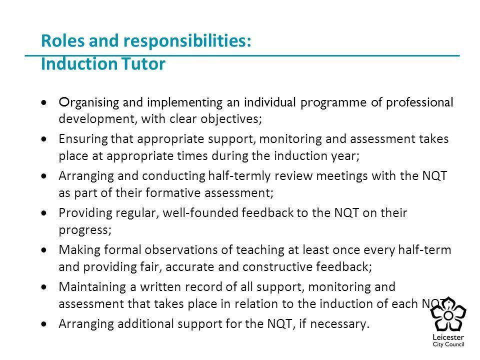 The Role of Induction Tutor - ppt download