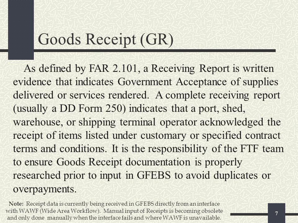 GFEBS Goods and Services Receipt processes for - ppt download