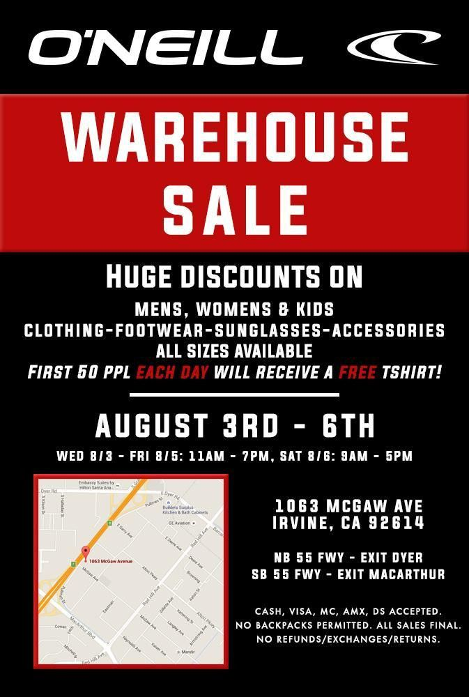 O'Neill Warehouse Sale, Los Angeles, August 2016