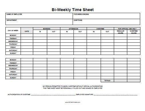 Printable Time Sheets   ossaba.com