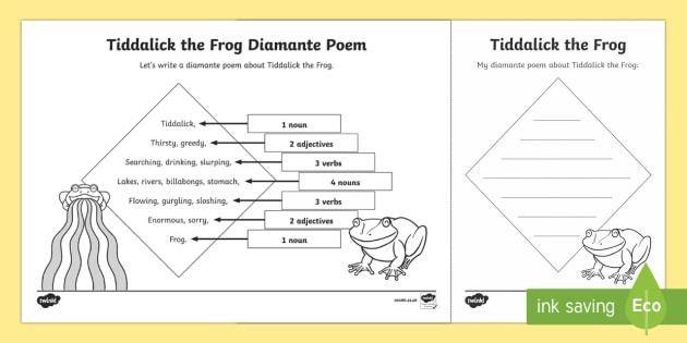 Tiddalick the Frog Diamante Poem Writing Template - Australian