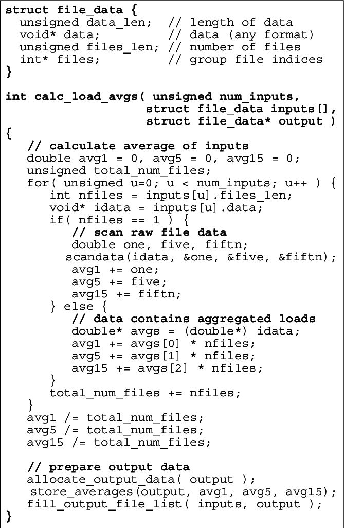TBON aggregation function example Pseudocode for a hierarchical ...