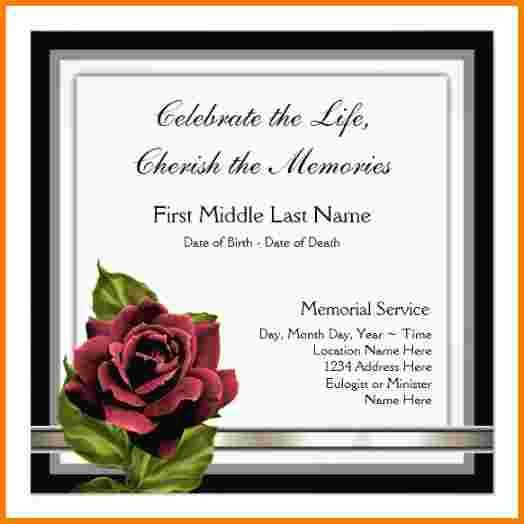 3 funeral announcement template | Receipt Templates