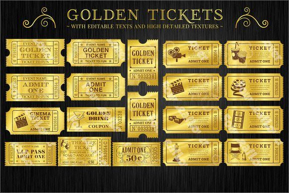 Golden Movie Ticket Template | Gift ideas | Pinterest | Ticket ...