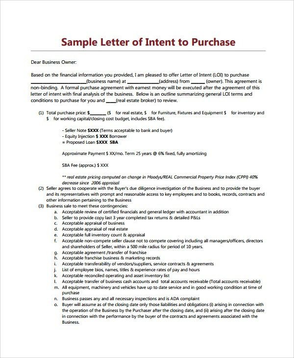 Letter Of Intent Real Estate. Real Estate Letter Of Intent 10 Free ...