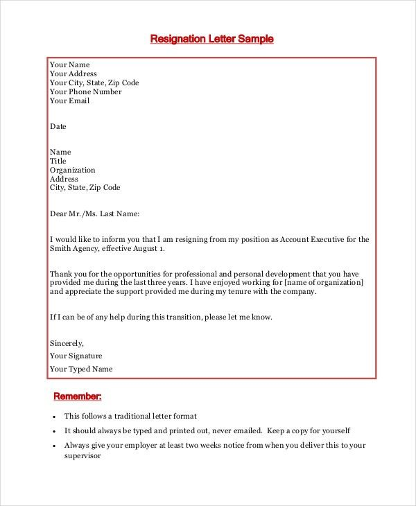 Resignation Letter - 15+ Free Word, PDF Documents Download   Free ...
