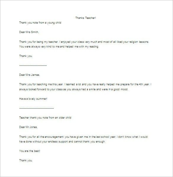 Thank You Letter To Teacher – 9+ Free Sample, Example Format ...