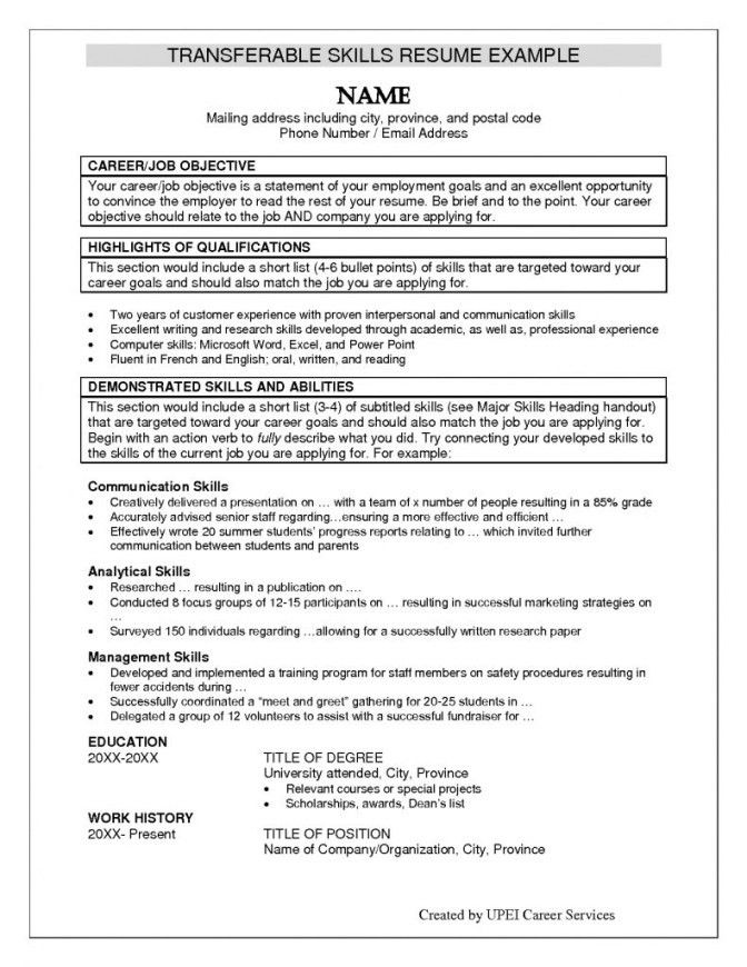 Transferable Skills List For Resumes | Resume Examples 2017