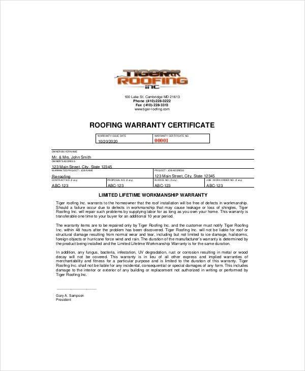 Warranty Certificate Templates Free & Premium Samples | Creative ...