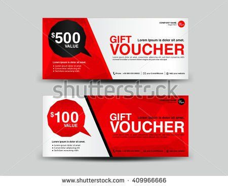 Red Gift Voucher Coupon Designticket Bannercardspolygon Stock ...