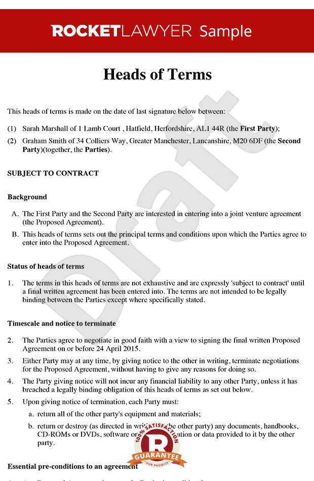 of Terms Sample - Heads of Agreement Template