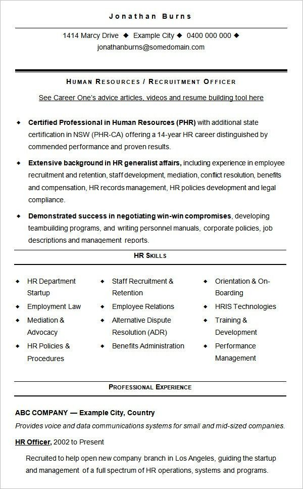 Examples Of Human Resources Resumes 10 HR Executive Resume Example ...