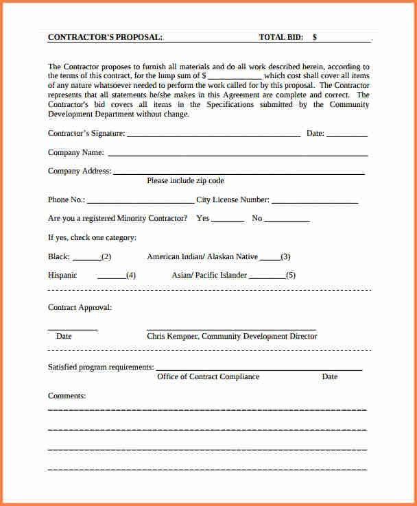 Contractor Proposal Template. Bid Proposal 8+ Contractor Proposal ...