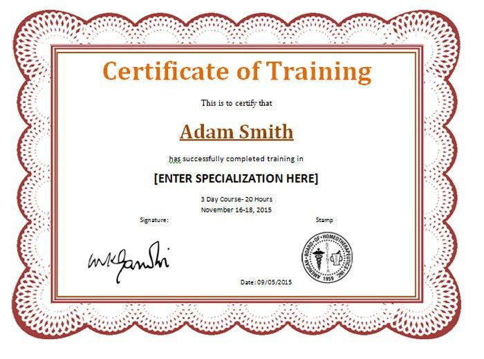 Award Certificate for Completion of Training | Templates ...
