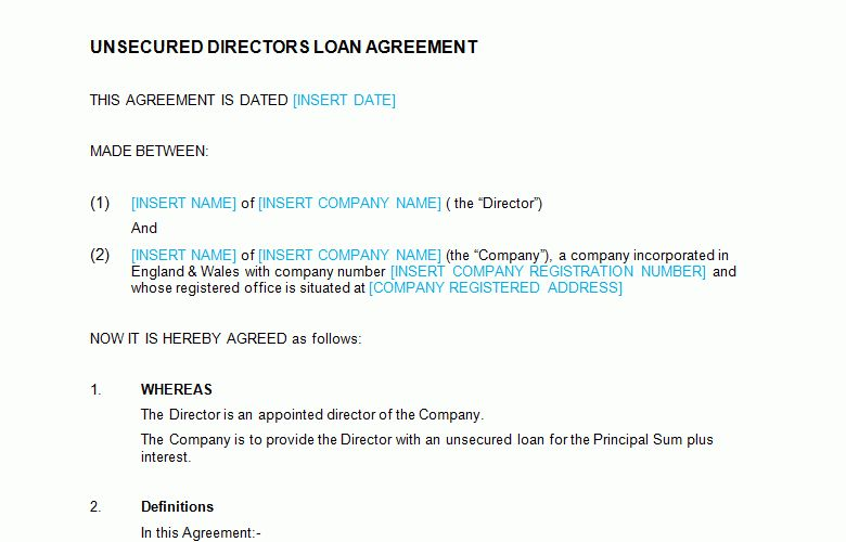 Unsecured Directors Loan Agreement Template - Bizorb