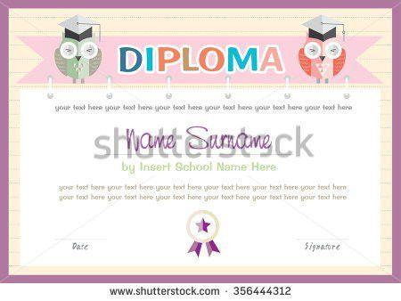 Preschool Kids Diploma Certificate Background Design Stock Vector ...