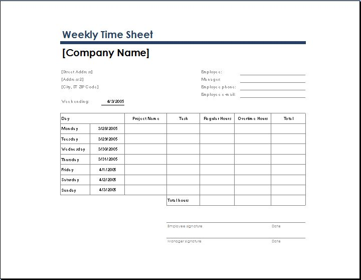 weekly time sheet with task and overtime | Microsoft Templates ...