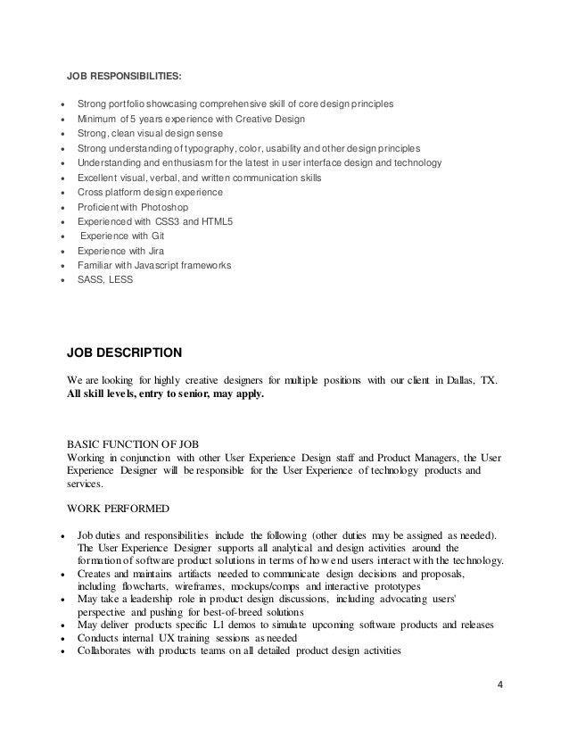 Captivating Ux Designer Job Description. Job Idenvano   Interactive Designer .
