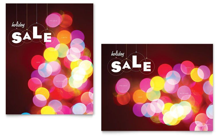 Holiday Lights Sale Poster Template - Word & Publisher