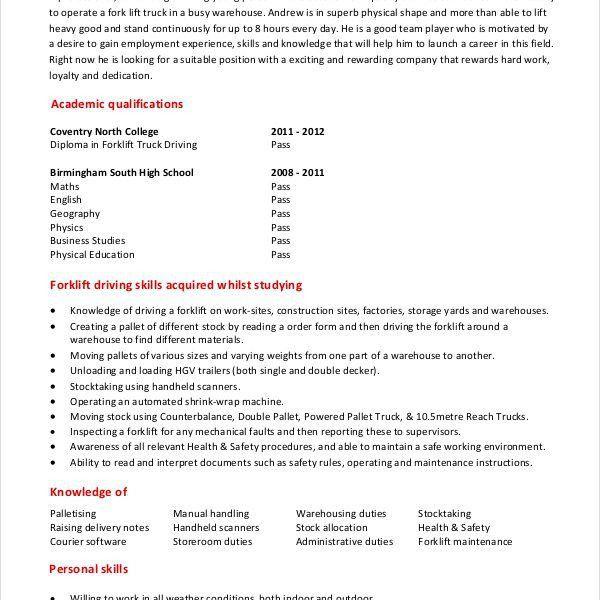 Inspiring Forklift Resume Homey - Resume CV Cover Letter