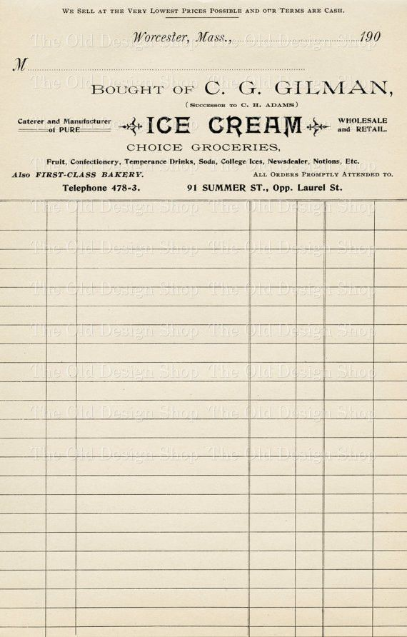 Vintage Accounting Ledger Page Printable Ephemera Gilman Ice Cream ...
