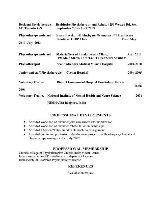 physiotherapy resume sample