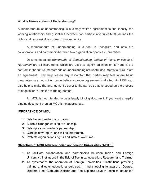 Memorandum of understanding- Indian and foreign universities - Nursin…