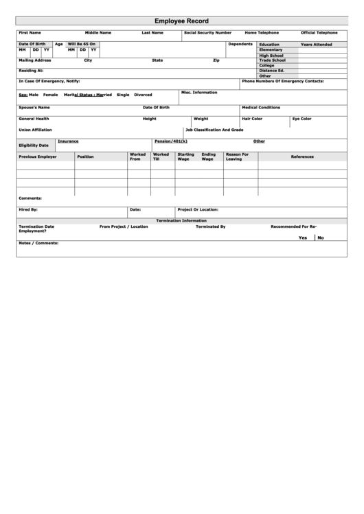 Top Employee Earnings Record Templates free to download in PDF ...