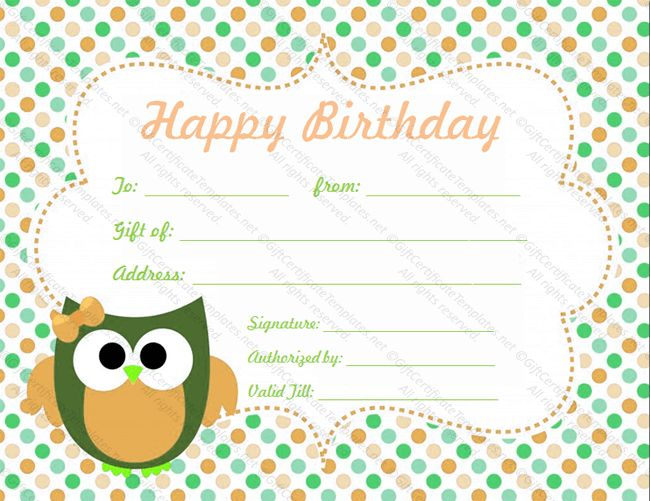 Circle Birthday Gift Certificate Template - Gift Certificates
