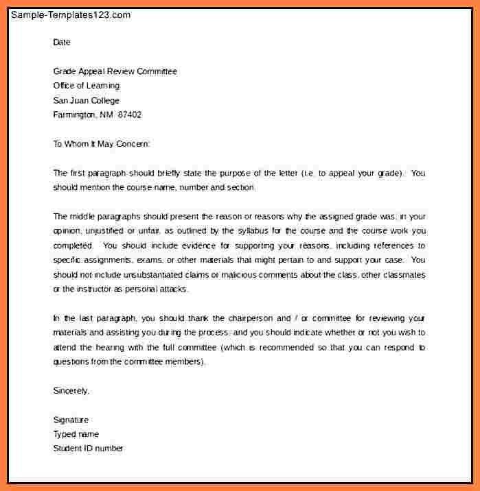 3+ grade appeal sample   Appeal Letter 2017