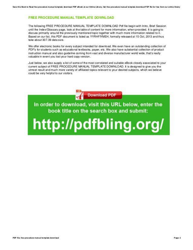 Free procedure-manual-template-download